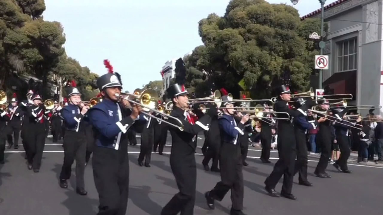 The Saratoga High School Marching Band performed in the Los Gatos Parade in early December.
