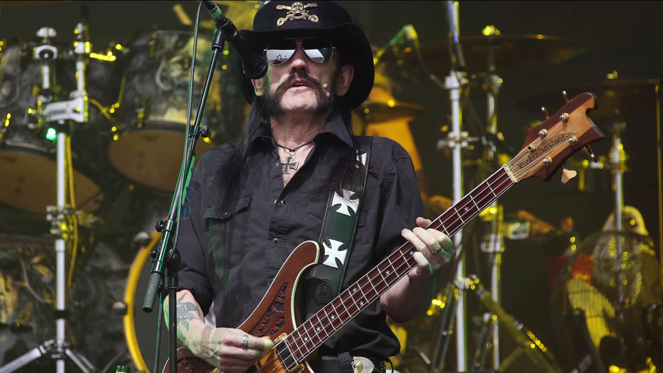 Motorhead frontman Lemmy Kilmister performs on the Pyramid stage during Glastonbury Music Festival on Friday, June 26, 2015 at Worthy Farm, Glastonbury, England. (Photo by Joel Ryan/Invision/AP)