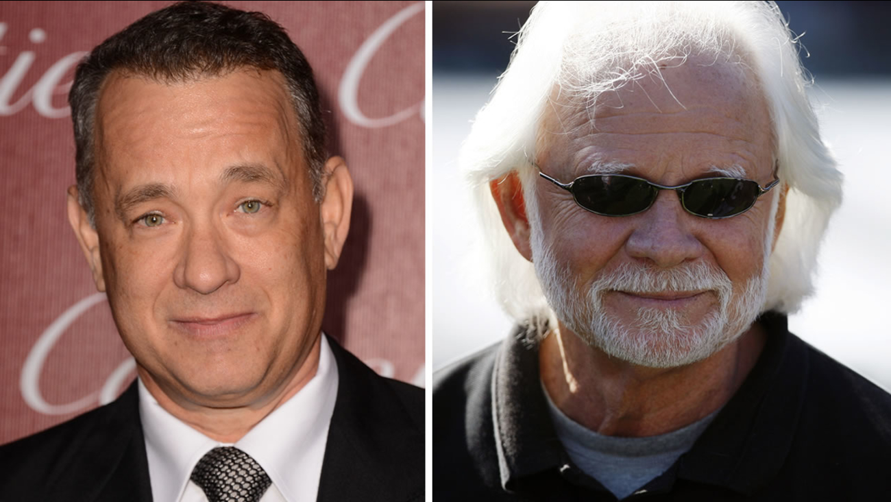 Actor Tom Hanks, left, and former Oakland Raiders quarterback Ken Stabler, right.
