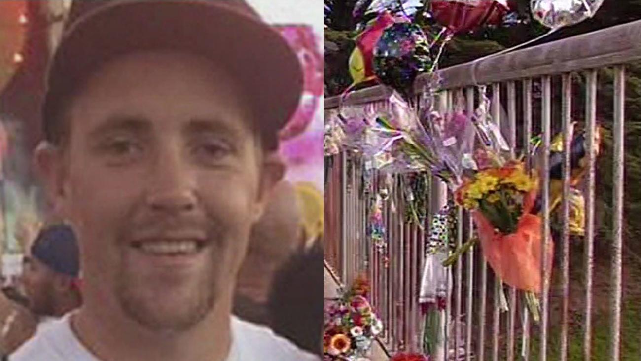 Jason Gilbride, crash scene where flowers are gathered