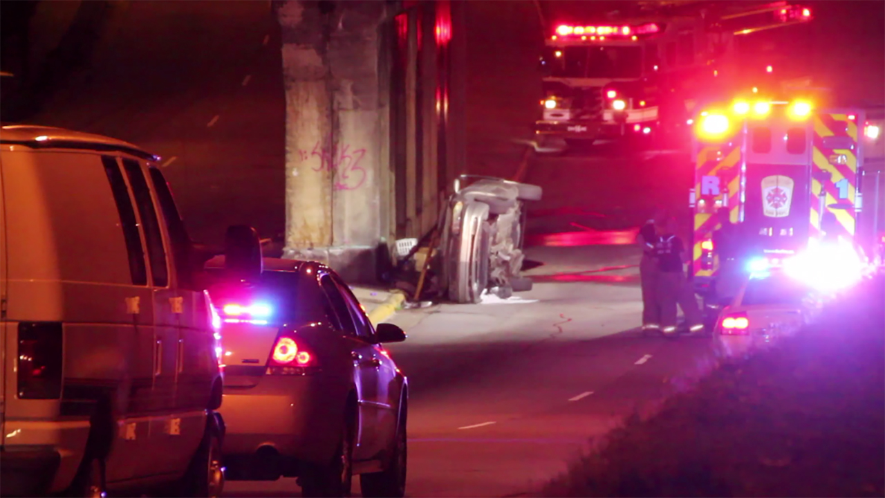 A car rolled under this Ramsey Street bridge on Tuesday evening.