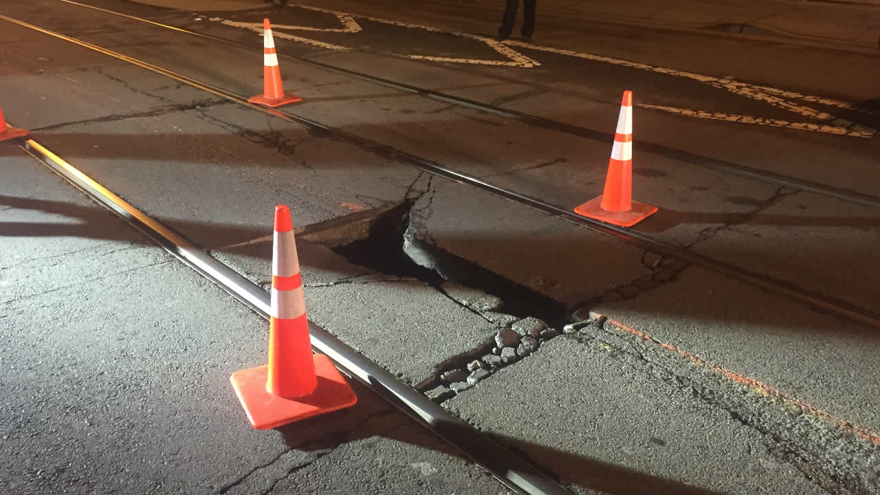 A sinkhole in San Francisco's Noe Valley neighborhood on Thursday, December 31, 2015.