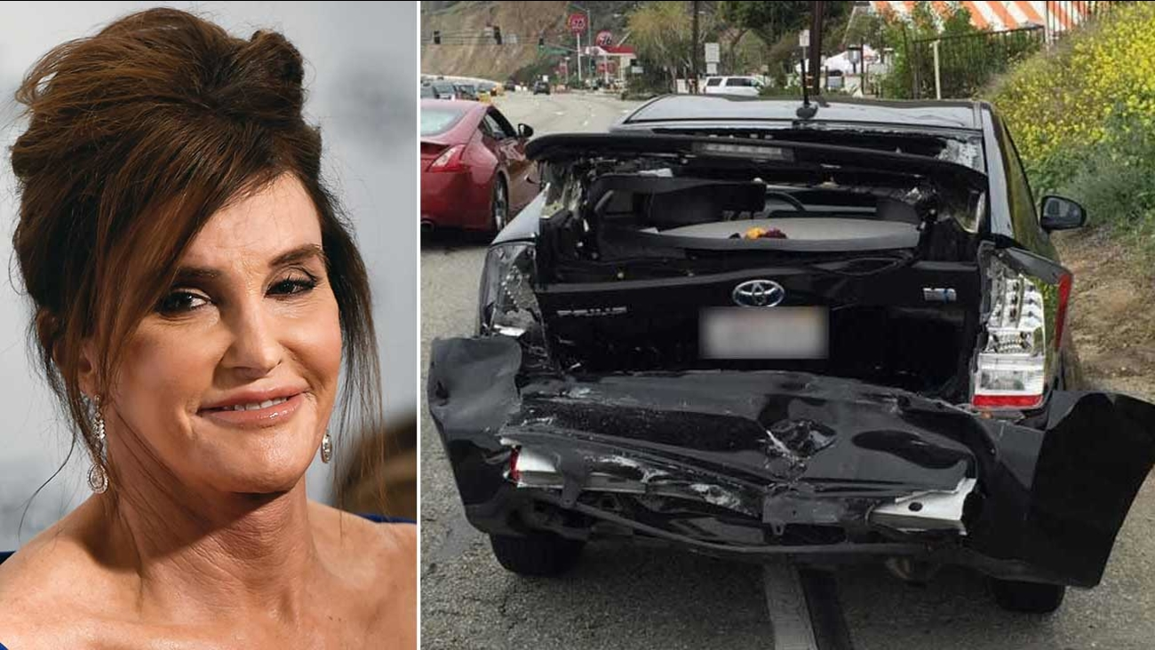 Caitlyn Jenner attends the Glamour Women of of the Year Awards (left). Jessica Steindorff's Toyota Prius is seen in photos released to Eyewitness News by her attorney (right).