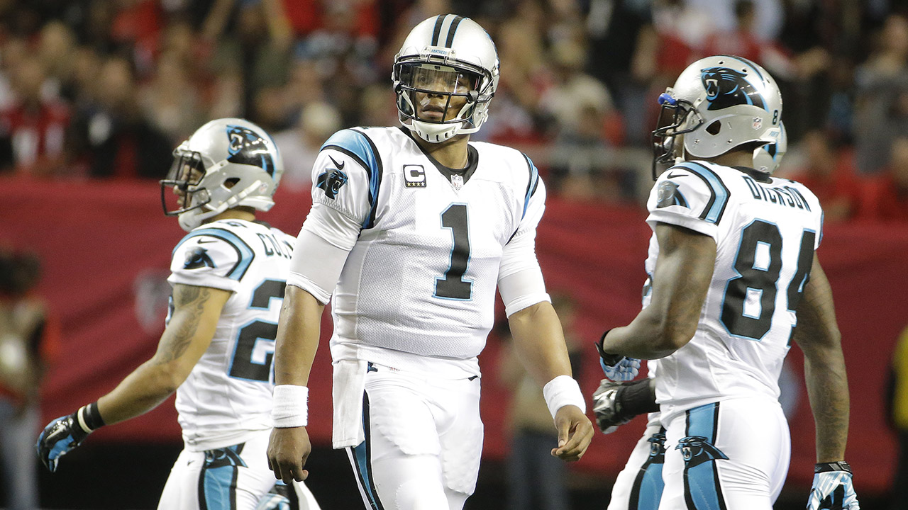 Carolina Panthers quarterback Cam Newton (1) leaves the field during the first half of an NFL football game against the Atlanta Falcons, Sunday, Dec. 27, 2015, in Atlanta.