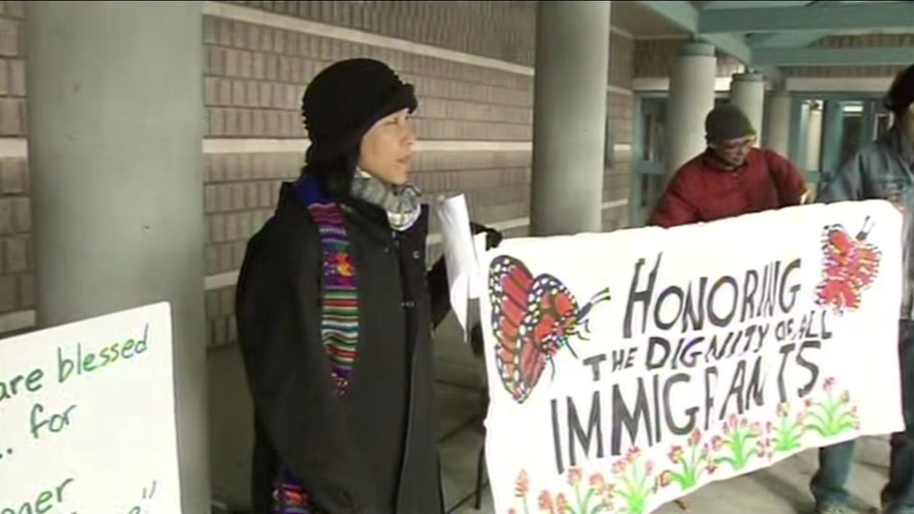 A vigil and rally was held outside the West County Detention Facility in Richmond, Calif., on Saturday,January 2, 2016, to support those facing deportation from the Bay Area.