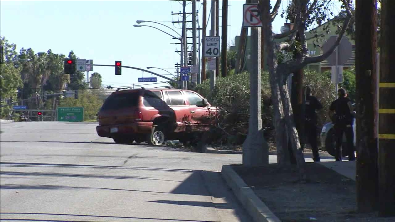 A Dodge Durango crashed in Long Beach by a carjacking suspect on Friday, who later died on Saturday, Jan. 2, 2016, after shooting himself in the head.