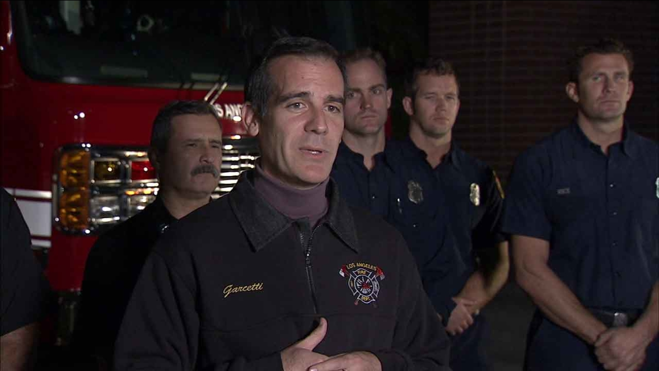 LA Mayor Eric Garcetti holds a news conference on Sunday, Jan. 3, 2016, to warn the public of El Nino-related storms expected to hit SoCal.