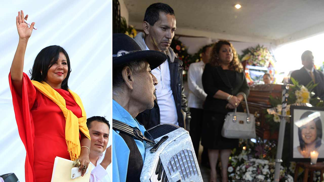Gisela Mota waves during her swearing in ceremony as mayor of Temixco, Mexico on Friday, Jan. 1, 2016 (left). The wake of the slain mayor of Temixco, Gisela Mota (right).