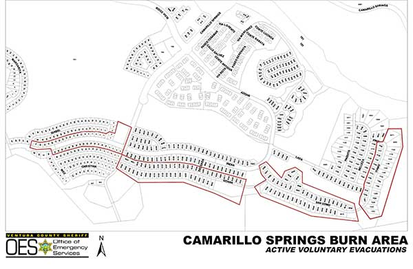 Voluntary evacuations have been issued for Camarillo Springs residents outlined in red in this map provided by the Ventura County Sheriff's Office of Emergency Services.