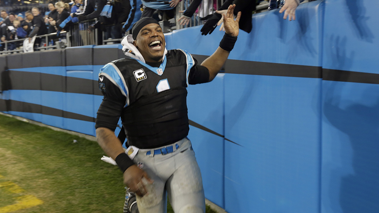 Carolina Panthers' Cam Newton (1) celebrates his team's 15-1 regular season record following an NFL football game against the Tampa Bay Buccaneers in Charlotte, N.C.