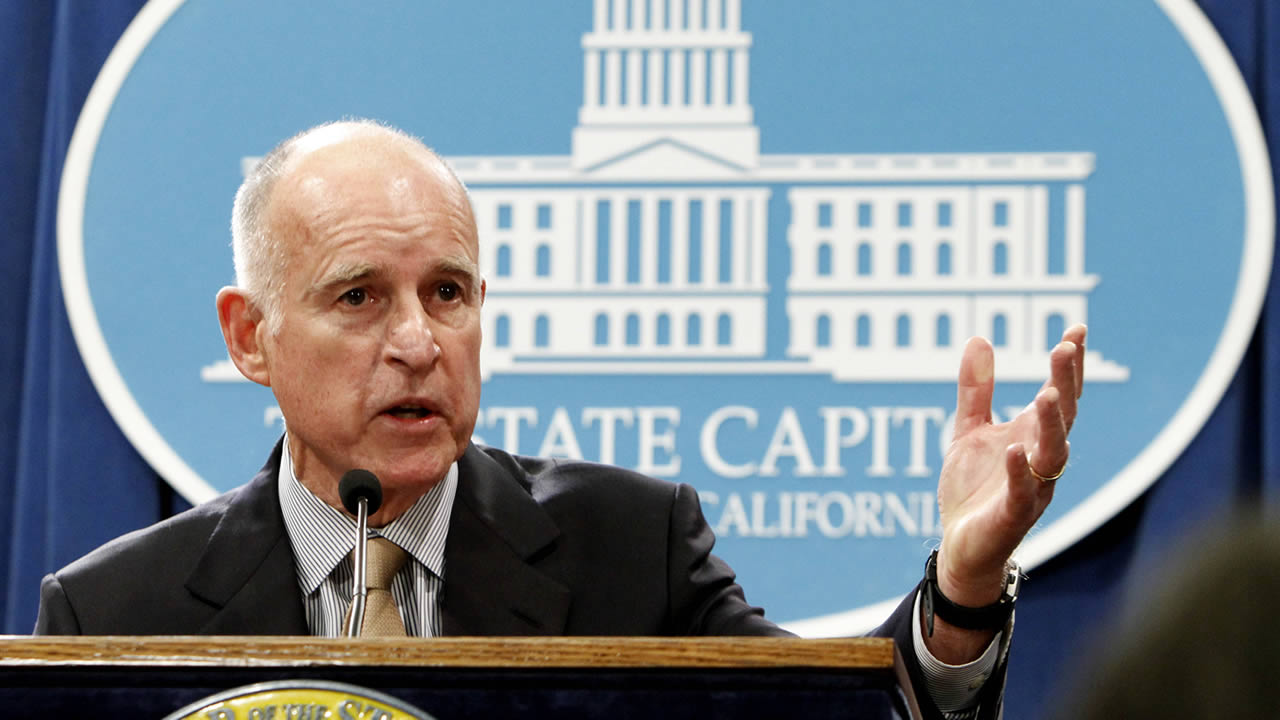 Gov. Jerry Brown discusses his revised state budget plan during a Capitol news conference in Sacramento, Calif. (AP Photo/Rich Pedroncelli)