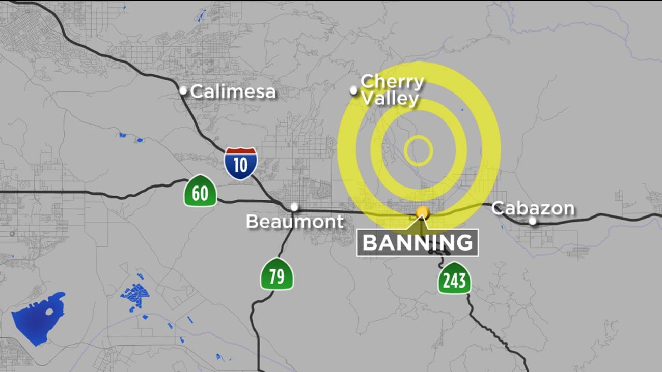 A map indicates the location of a 4.5-magnitude earthquake that struck four miles north northwest of Banning at 6:42 a.m on Wednesday, Jan. 6, 2016.