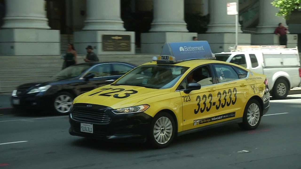A Yellow Cab drives through the streets of San Francisco on Wednesday, January 6, 2016.