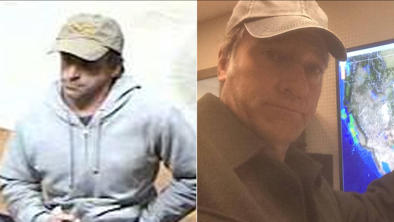 Medford police released a photo, left, of a suspected bank robber. Many on social media were quick to point out his resemblance with 'Dirty Jobs' star Mike Rowe, right.