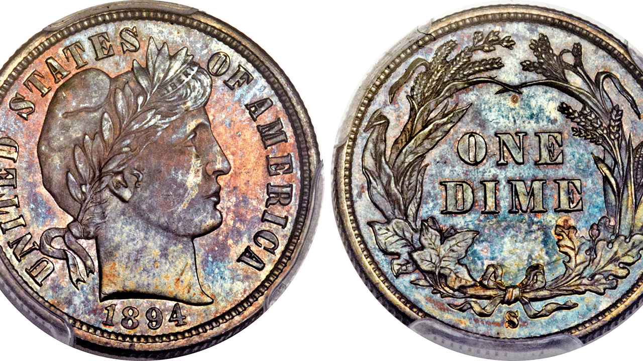 This Nov. 10, 2015, photo combination provided by Heritage Auctions, shows the front and back of a rare 1894 dime that will be put up for auction Thursday Jan. 7, 2016 in Tampa, FL