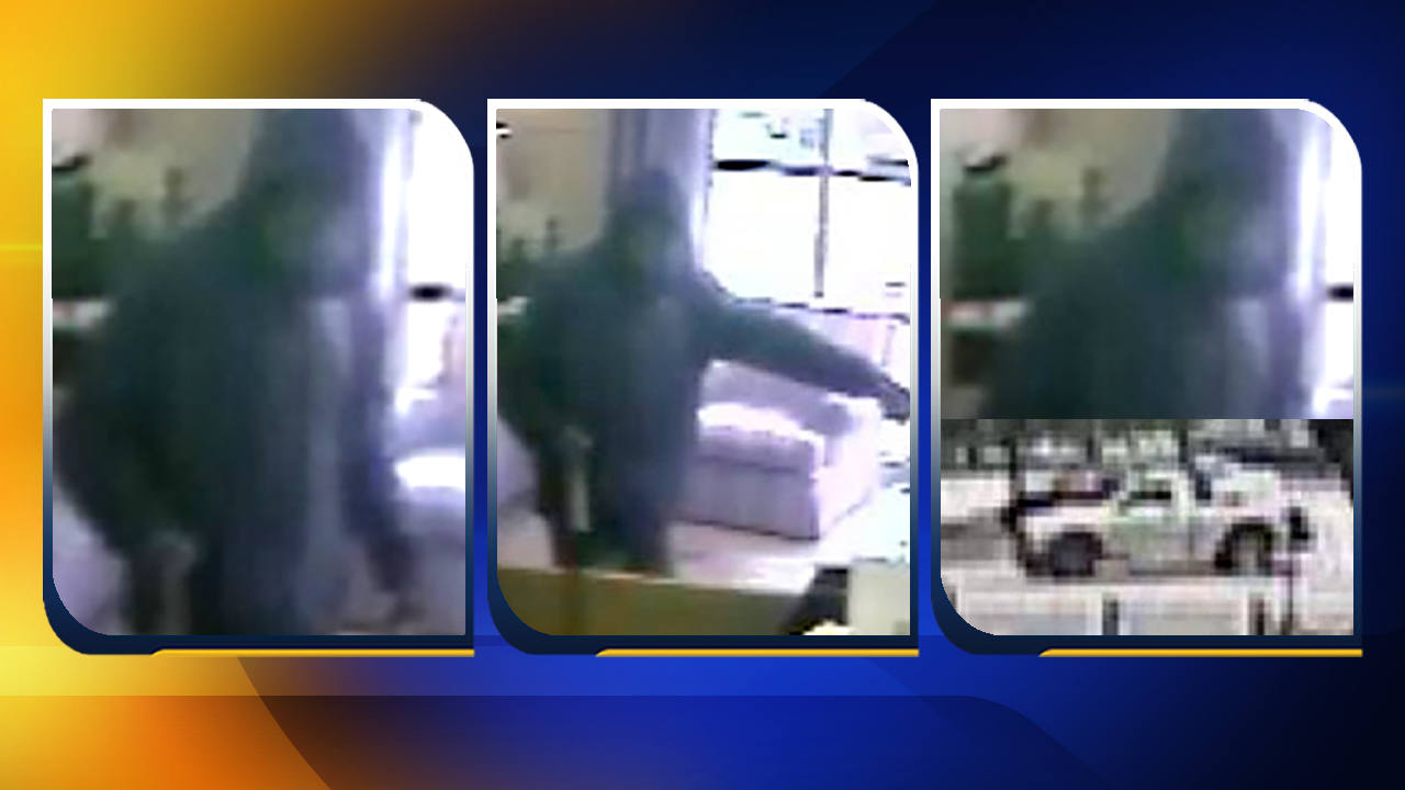 Low-quality images of the suspect and his getaway vehicle.
