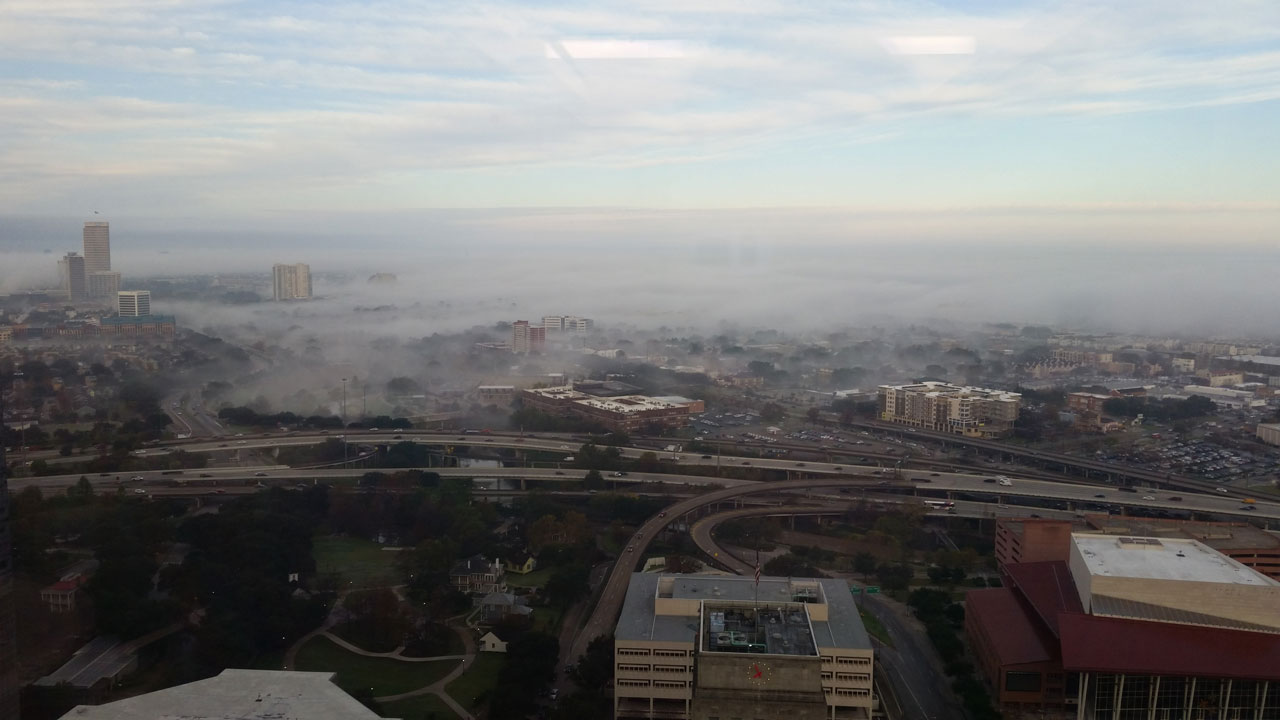 "<div class=""meta image-caption""><div class=""origin-logo origin-image none""><span>none</span></div><span class=""caption-text"">abc13 viewer Kristina Sebesta sent in this dramatic image of the fog from the 29th floor of her office building in Downtown Houston. (Photo Credit: Kristina Sebesta)</span></div>"