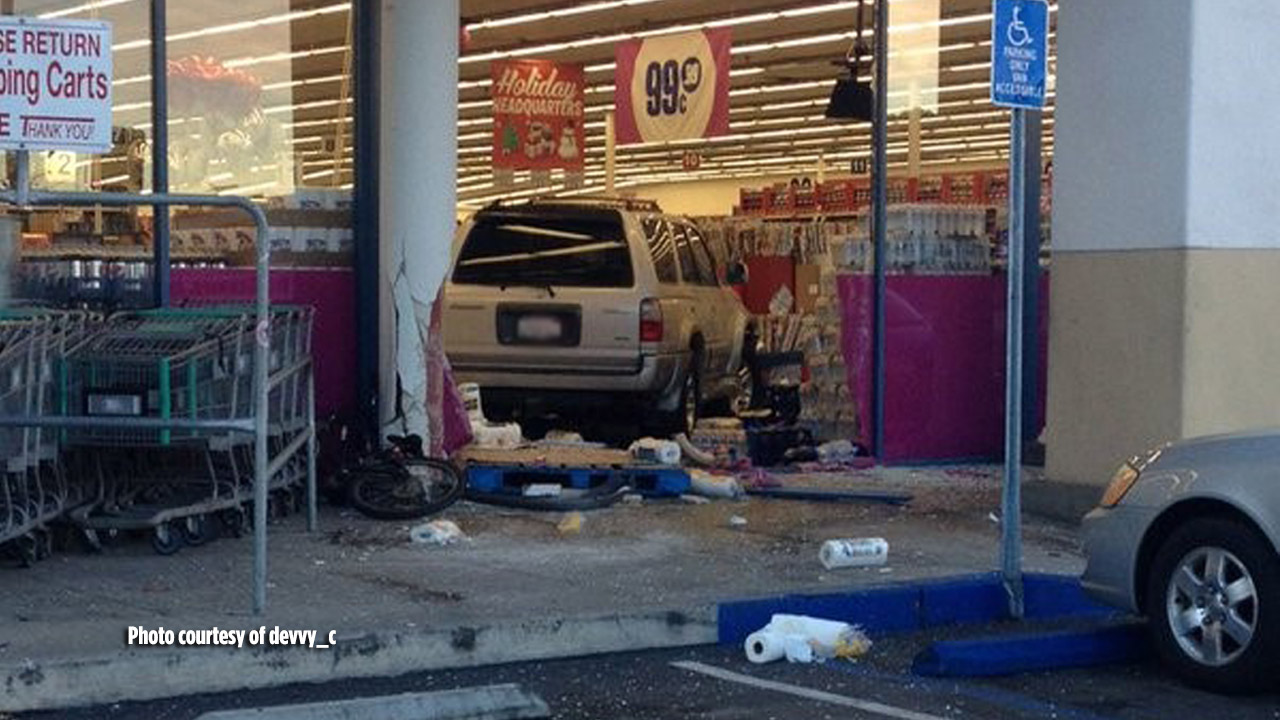 An SUV crashed into the 99 Cents Only located at 55 Via Pico Plaza in San Clemente on Friday, Jan. 8, 2016.