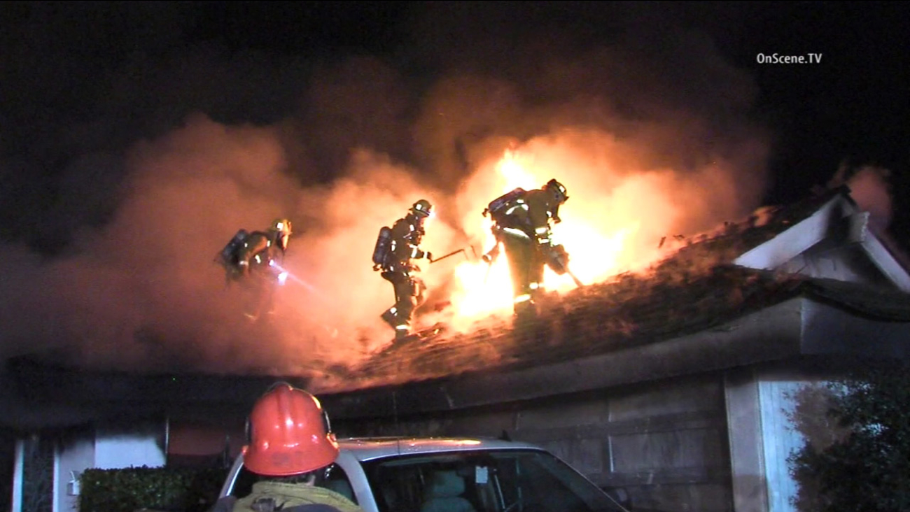 Firefighters battled a fire that erupted in a North Hills home on Sunday, Jan. 10, 2016.