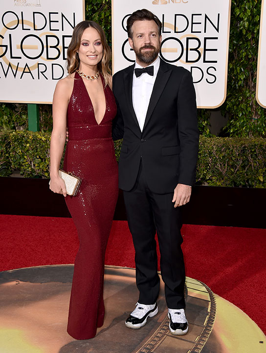 "<div class=""meta image-caption""><div class=""origin-logo origin-image none""><span>none</span></div><span class=""caption-text"">Olivia Wilde, left, and Jason Sudeikis arrive at the 73rd annual Golden Globe Awards on Sunday, Jan. 10, 2016, at the Beverly Hilton Hotel in Beverly Hills, Calif. (Jordan Strauss/Invision/AP)</span></div>"