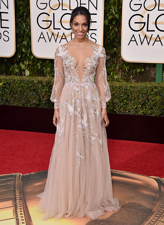 "<div class=""meta image-caption""><div class=""origin-logo origin-image none""><span>none</span></div><span class=""caption-text"">Corinne Foxx arrives at the 73rd annual Golden Globe Awards on Sunday, Jan. 10, 2016, at the Beverly Hilton Hotel in Beverly Hills, Calif. (Jordan Strauss/Invision/AP)</span></div>"