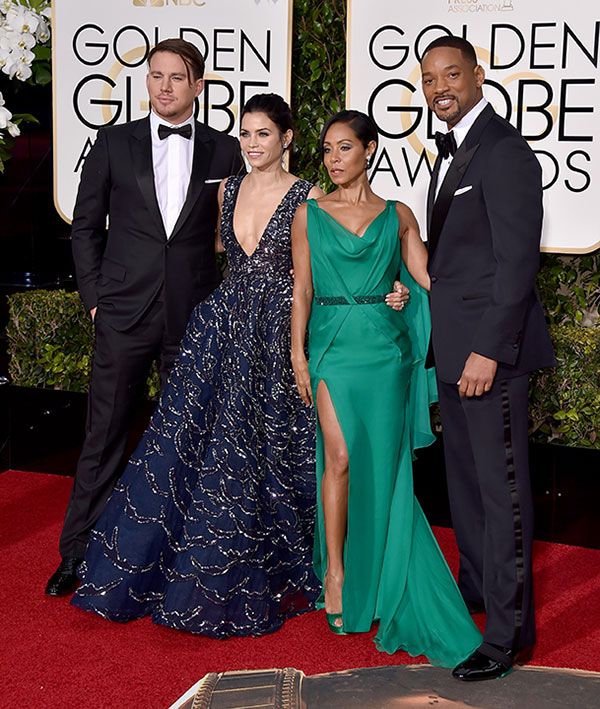"<div class=""meta image-caption""><div class=""origin-logo origin-image none""><span>none</span></div><span class=""caption-text"">Channing Tatum, from left, Jenna Dewan Tatum, Jada Pinkett Smith, and Will Smith arrive at the 73rd annual Golden Globe Awards on Sunday, Jan. 10, 2016. (Jordan Strauss/Invision/AP)</span></div>"