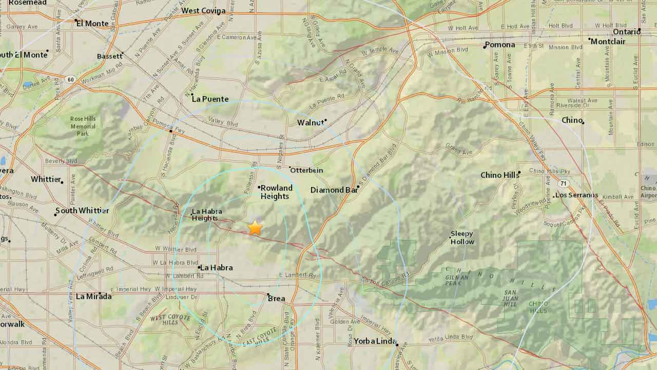 A 3.1-magnitude earthquake struck 2 miles south, southwest of Rowland Heights, Calif. on Sunday, Jan. 10, 2016.