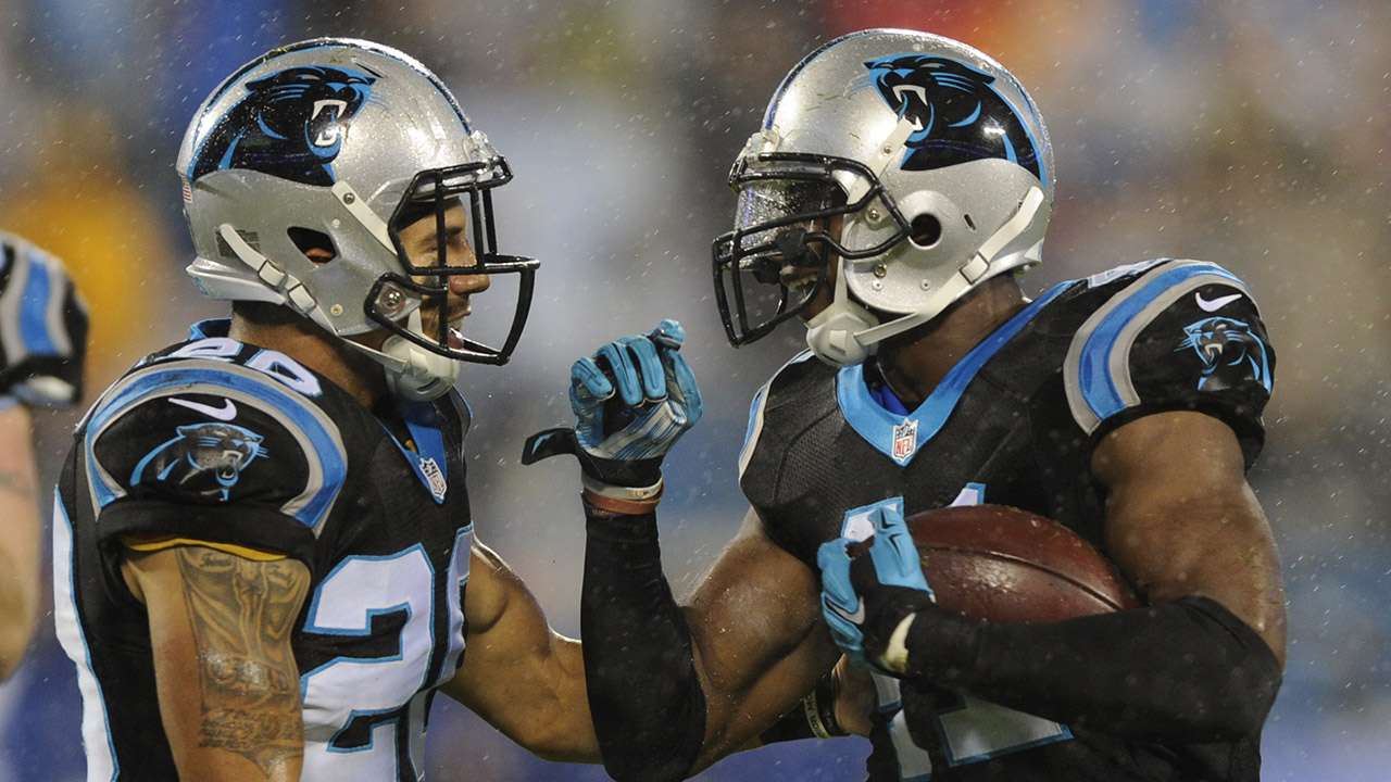 Carolina Panthers' Roman Harper (41) celebrates his fumble recovery against the Indianapolis Colts with Kurt Coleman (20) in the first half of an NFL football game in Charlotte