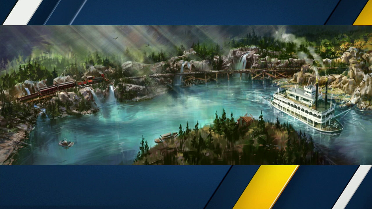 Artist rendering of Rivers of America after the opening of the new 'Star Wars'-themed land.