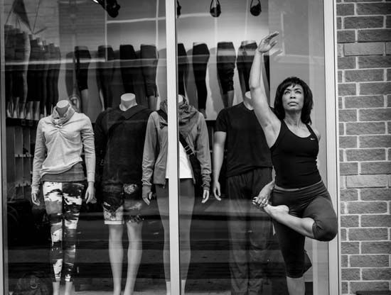 """<div class=""""meta image-caption""""><div class=""""origin-logo origin-image none""""><span>none</span></div><span class=""""caption-text"""">""""This is a version of tree pose. Standing next tot he mannequins made me reflect--do you want to fit in or stand out?"""" (Gina Gaston/Layla Salek)</span></div>"""