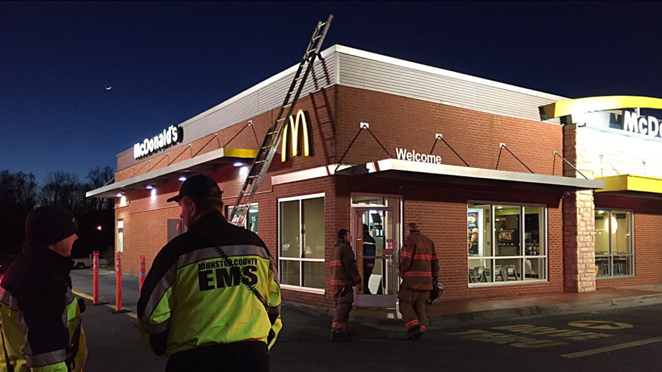 No injuries were reported in the fire at McDonald's on US 70 Business in Clayton.