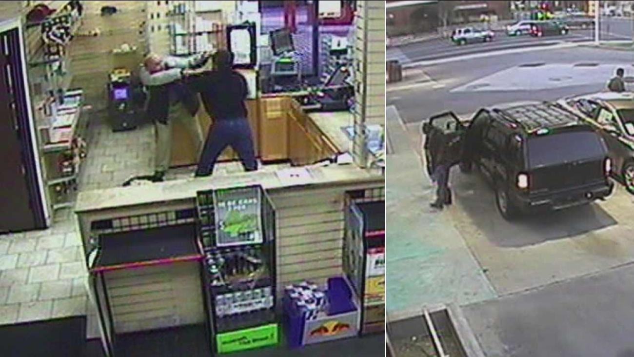 Surveillance video shows a suspect wanted for allegedly stabbing a 62-year-old clerk during a robbery attempt at a 76 gas station in the 600 block of S. Barranca Avenue in Covina.