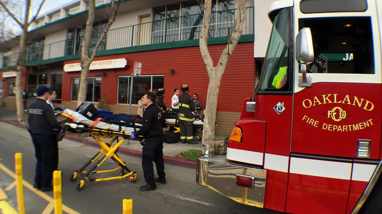 Oakland firefighters respond to an incident the Jack London Inn on Embarcadero West in Oakland, Calif., on Tuesday, Jan. 12, 2016. (Jane Tyska/ Bay Area News Group)