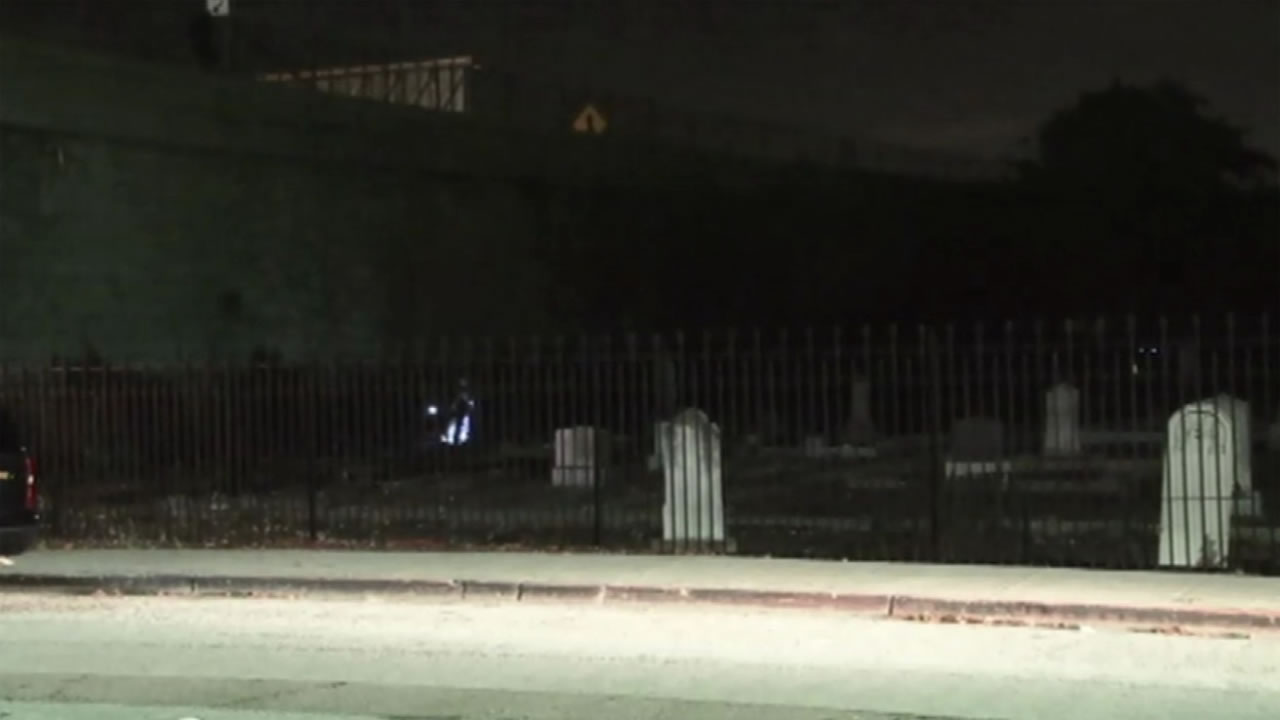 A man died trying to get away from police after he jumped from Interstate 238 in San Lorenzo, Calif. into a cemetery on Thursday, January 14, 2016.