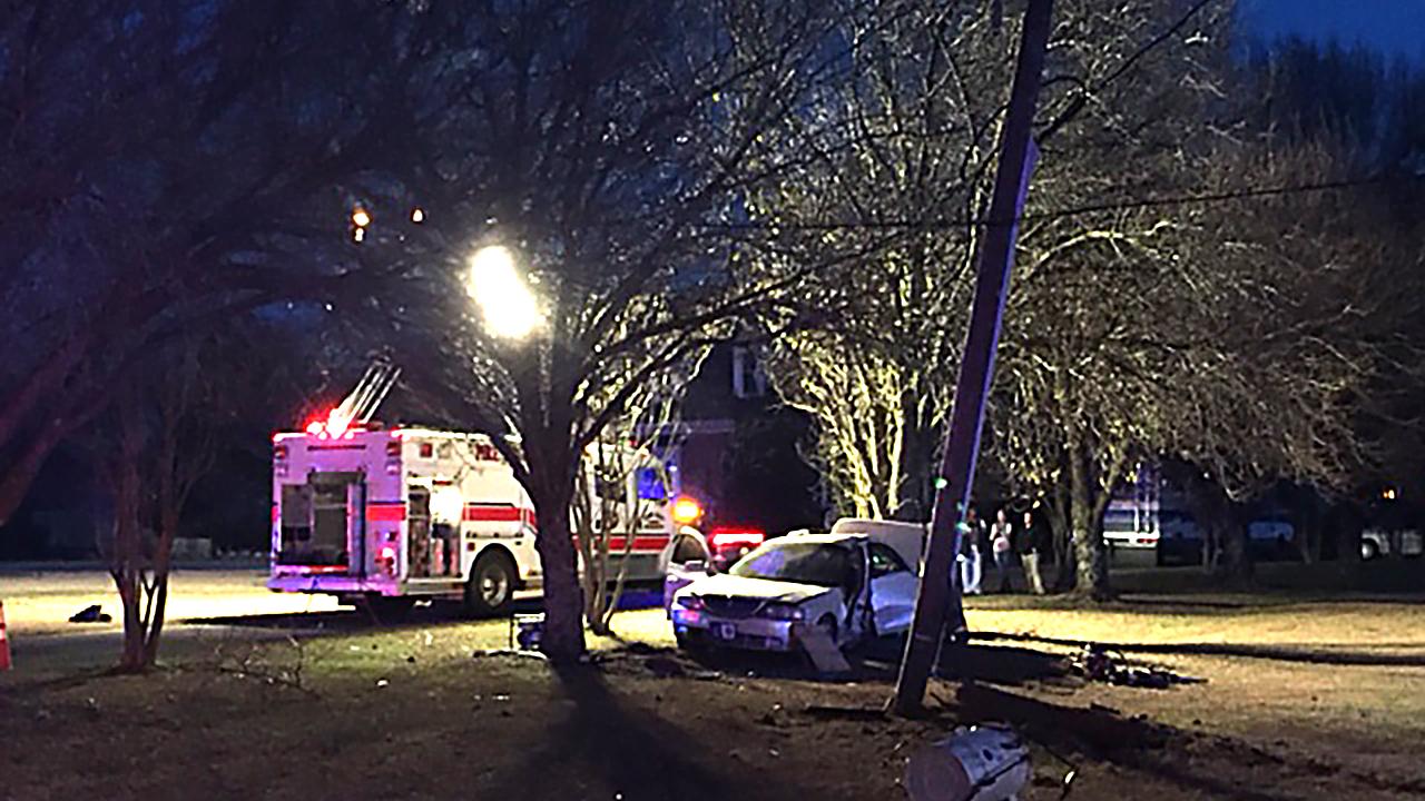 Car hits power pole in Four Oaks.