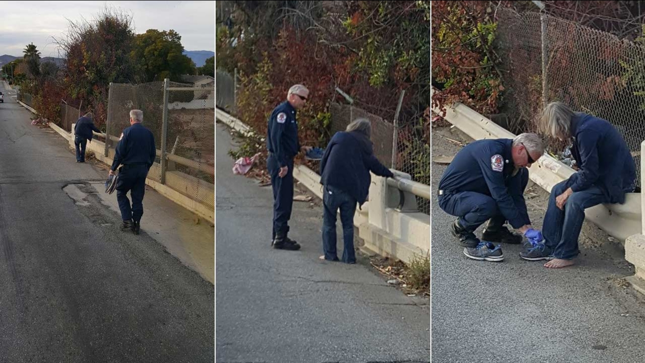 The Riverside Fire Department posted photos to Facebook of two firefighters helping a barefoot homeless man found limping along a freeway.
