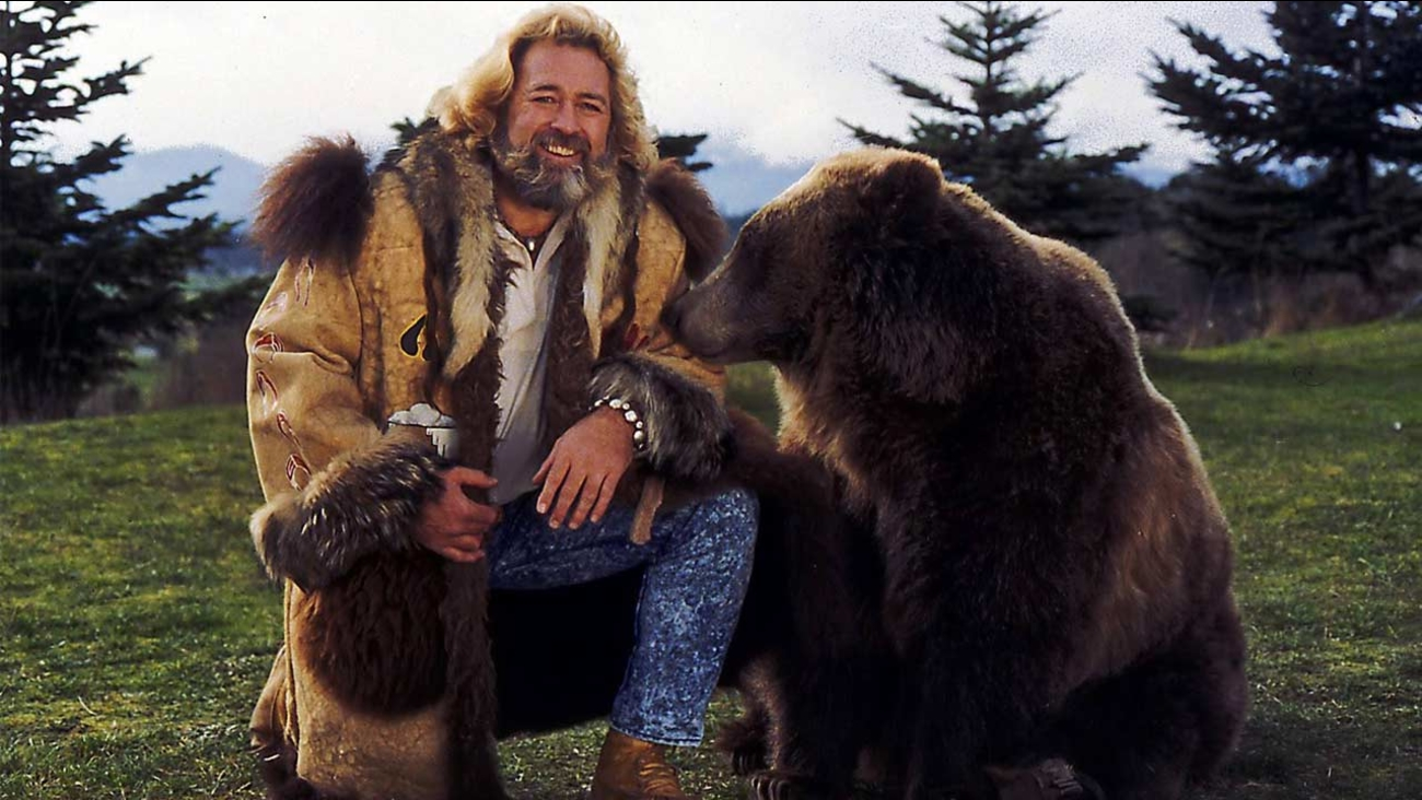 Actor Dan Haggerty poses with 'Ben the Bear' in this undated photo provided by the actor's manager, Terry Bomar.