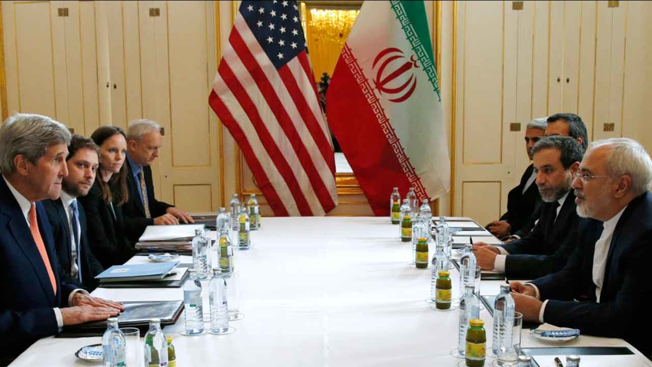 """Secretary of State John Kerry meets with Iranian Foreign Minister Mohammad Javad Zarif in Vienna, Austria, Saturday, Jan. 16, 2016, on what is expected to be """"implementation day."""""""