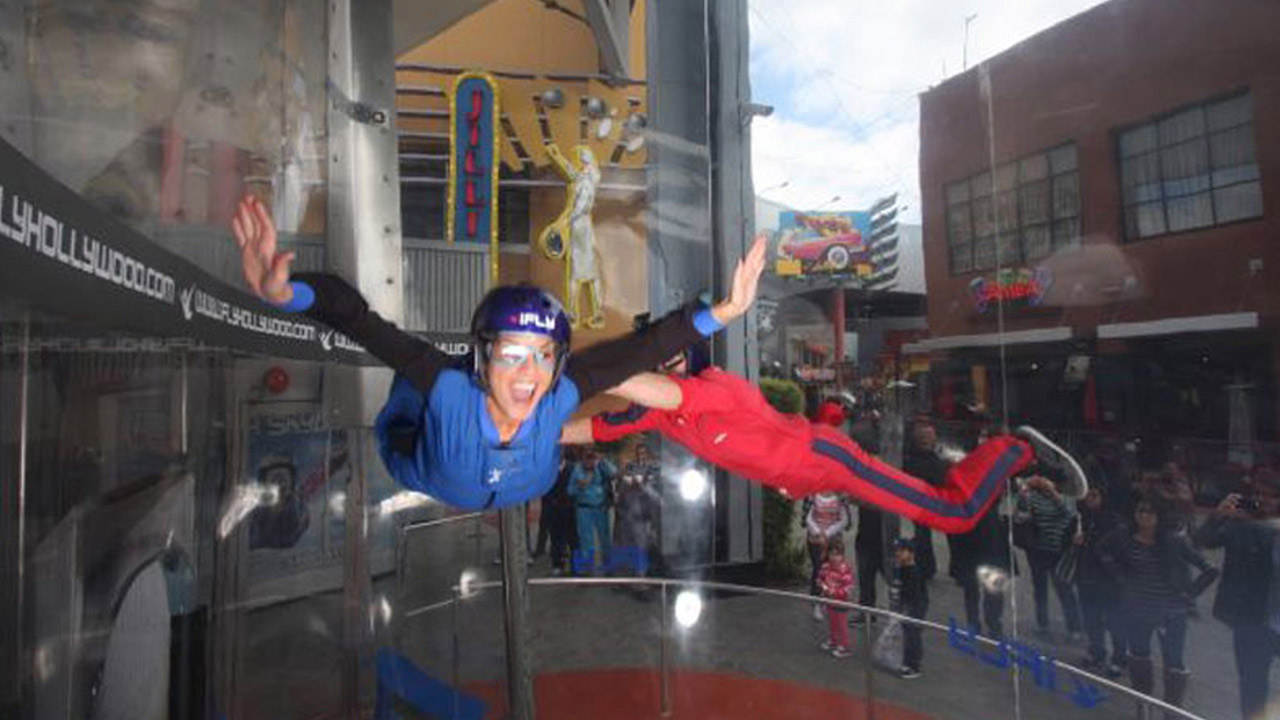 Tina Malave tries out indoor skydiving at iFly Hollywood at Universal Studios CityWalk.