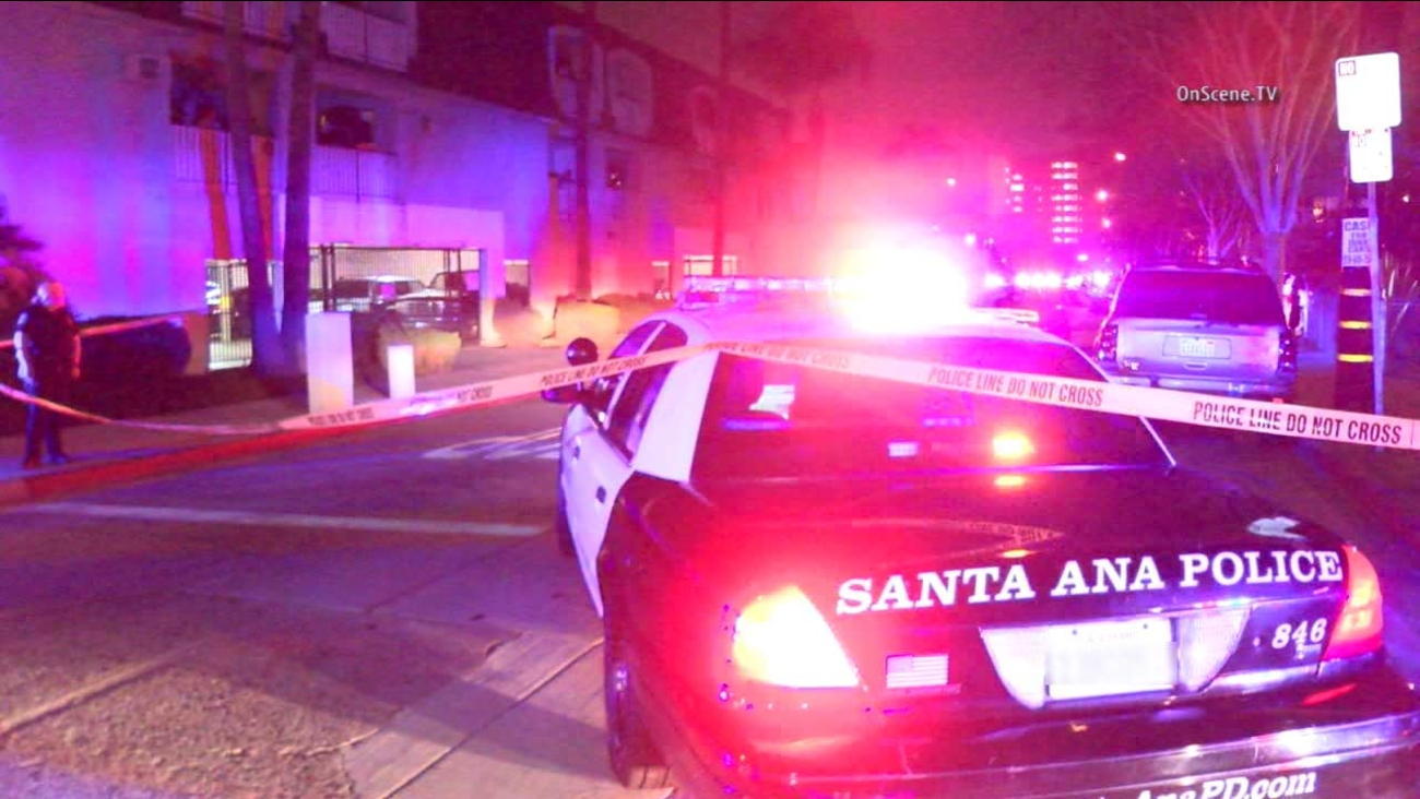 A Santa Ana police vehicle is shown near the scene of an officer-involved shooting in the 1000 block of Parton Street on Sunday, Jan. 17, 2016.