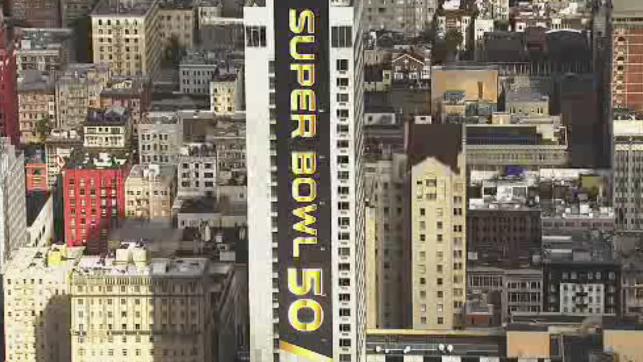 This image from Sky7 HD video shows a sign for Super Bowl 50 in San Francisco on Monday, January 18, 2016.