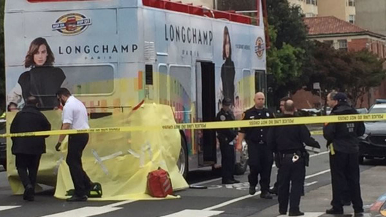 A Hop-on Hop-off Tour Bus is seen after it allegedly crashed into a pedestrian at the intersection of Divisadero and Post streets in San Francisco Jan. 16, 2015.