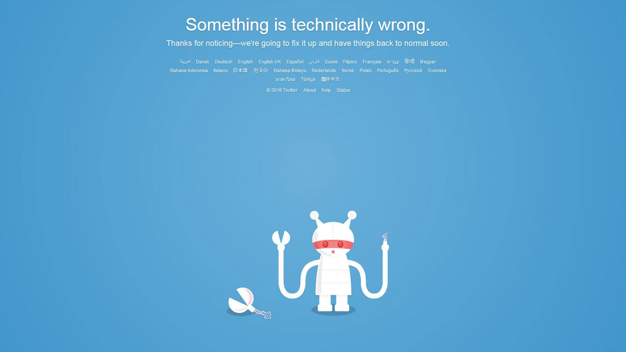 Screenshot of Twitter's outage message Tuesday morning