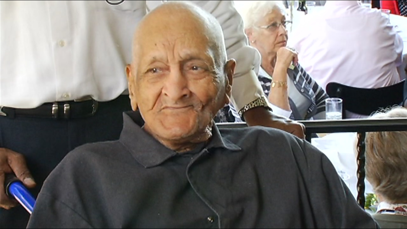 This image shows Andrew Hatch at a party for his 113th birthday party. The Oakland, Calif. resident died at the age of 117 on Monday, January 18, 2016.