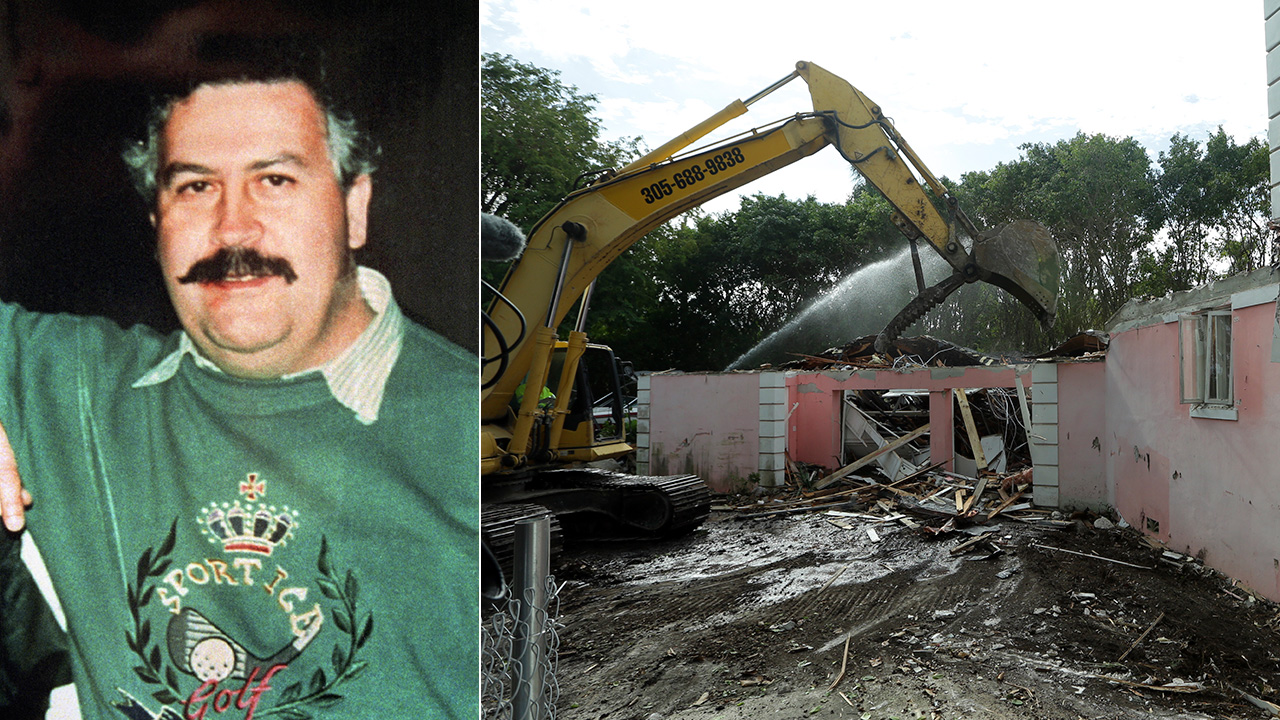 Colombia's cocaine lord Pablo Escobar is photographed (left). A bulldozer demolishes the waterfront mansion formerly owned by Escobar in Miami Beach, Fla. (right).
