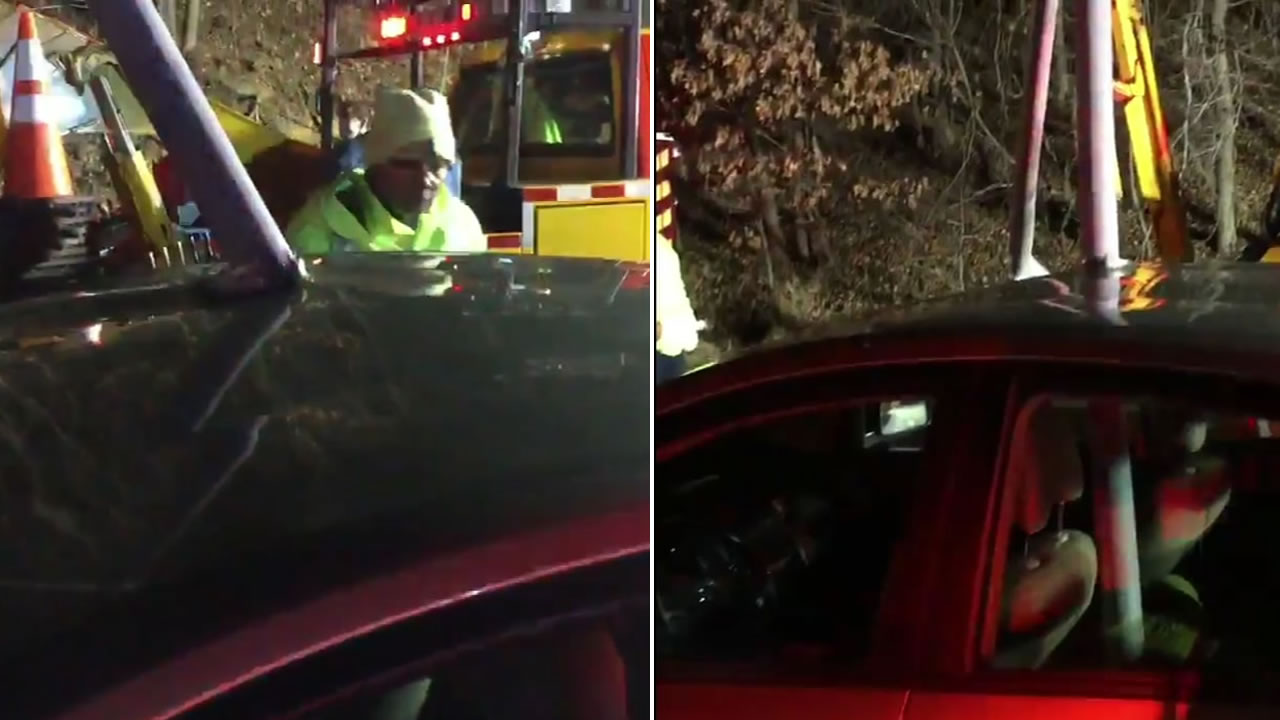 A light pole impaled a car following a traffic accident in Prince George's County, Maryland.