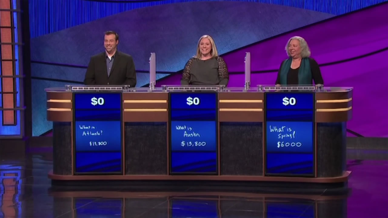 "This image shows contestants on ""Jeopardy!"" January 18, 2015 after no one took home any money."