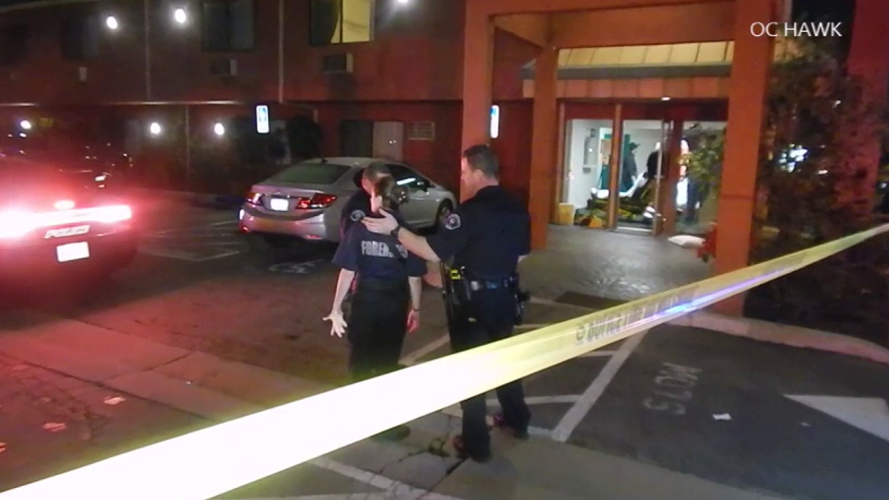 Buena Park police respond to a report of a melee inside the lobby of the Commonwealth Airport Inn in the 8100 block of Commonwealth Avenue Wednesday, Jan. 20, 2016.
