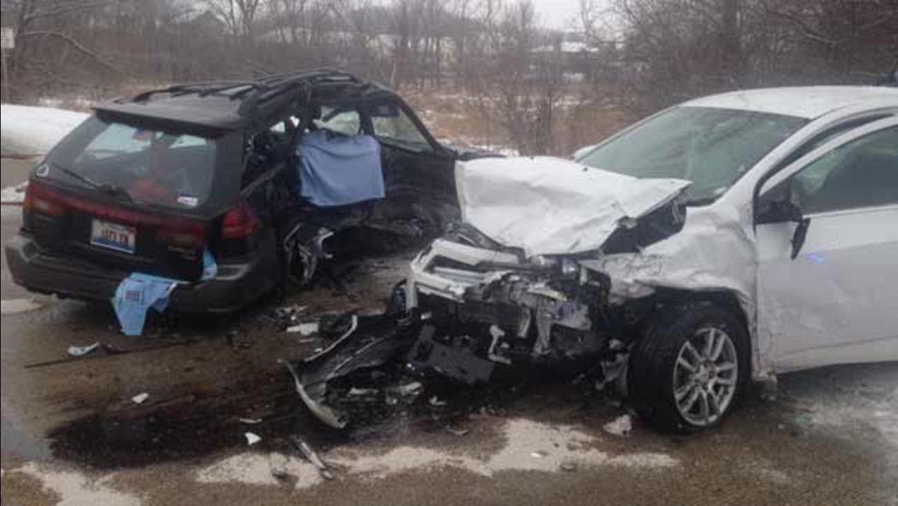 A 77-year-old woman was killed in a crash on Route 59 near Wilson Road in north suburban Ingleside.