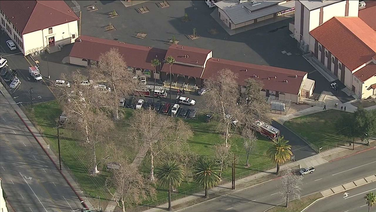 A foul odor triggered a hazmat response at Fontana Middle School on Thursday, Jan. 21, 2016.